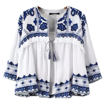 Embroidery Half Sleeve Ruffled Cropped Top