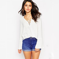 Women's Fashion Loudspeaker Tops Chiffon Bottoming Shirt [6281576452]