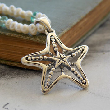 Sea Star Sterling Silver Necklace, Freshwater Pearls and Apatite, Starfish Pendant, Silk Cord, Adjustable, Beach, Nautical, Summer Fashion