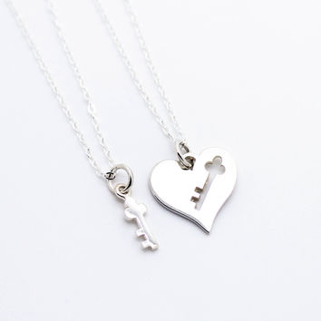 Key + Heart sterling silver necklace set