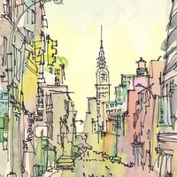 Travel Art New York Watercolor Chrysler Building by SketchAway