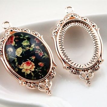 4pcs 18x25mm Inner Size Rose Gold Classic Style Cameo Cabochon Base Setting Charms Pendant necklace findings  (C1-40)