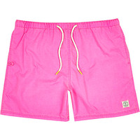 River Island MensFluro pink short swim trunks