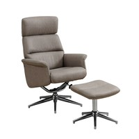 Reclining Chair - 2Pcs Set / Taupe Swivel Adjust Headrest