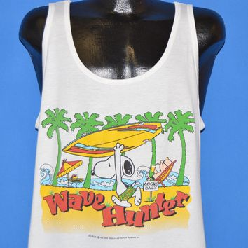 80s Snoopy Peanuts Wave Hunter Surf Tank Top t-shirt Large
