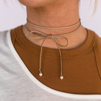 Wrapped Choker Necklace In Taupe