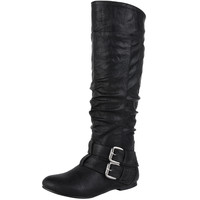 Womens Knee High Boots Double Adjustable Ankle Straps Casual Shoes Black SZ