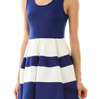 Colorblock Dress in Royal Blue and White with Back Detail