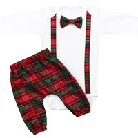 Baby Boys Full Christmas Outfit | Baby Boys Plaid Suspender Bow Tie and matching pants | Plaid Christmas Outfit