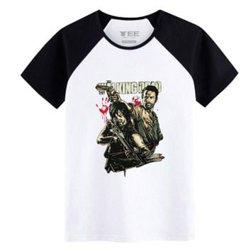 2017 Walking Dead Spring&Summer mens T-shirts Rick&Daryl 100% Cotton  T -shirts for Teenagers