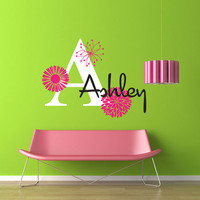 Mod Flowers Monogram - Personalized - Vinyl Wall Decal Sticker Art