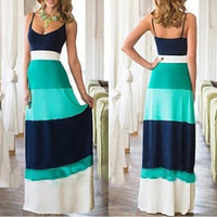 New Women 1 Piece A-line Summer Dress Patchwork V-neck Sleeveless Long Dress = 4756864004