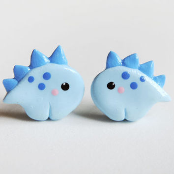 Polymer Clay Blue Baby Stegosaurus Dinosaur Earrings
