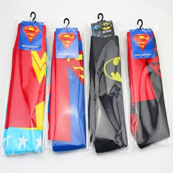 COSPLACOOL 4 Colors New Arrival socks men Cotton Superman+Batman Long Superhero Socks with Cloak Socks