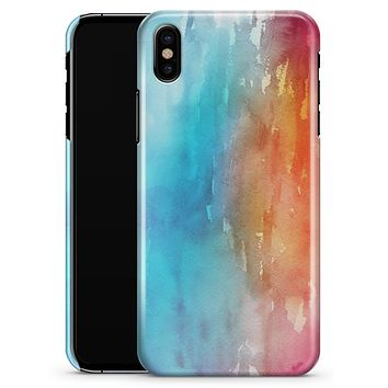 Turquoise to Pink Absorbed Watercolor Texture - iPhone X Clipit Case