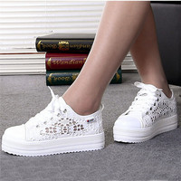 Casual Cutouts Lace Canvas Shoes Summer Women Shoes Hollow Floral Breathable