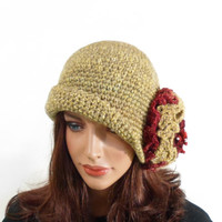 Crochet Cloche Hat with Large Flower - Light Brown