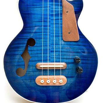 Les Paul style Tenor ukulele blue burst semi-hollow electric