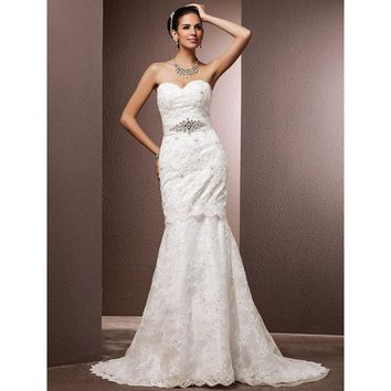 Mermaid Wedding Dress Trumpet Sweetheart Court Train Lace Bridal Gown with Beading Sash Ribbon Bow