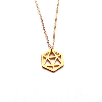 Gold Cube Necklace Tiny Cube Necklace Icon Jewellery Design Art Logo Necklace Jewelry Gold Plated Small Minimalist Geometric Triangle