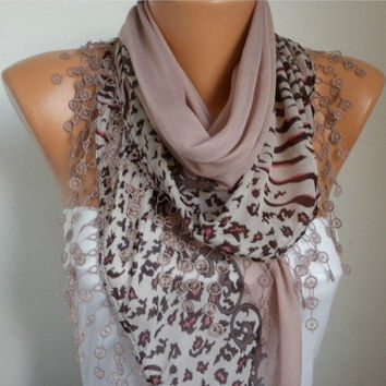 Summer Scarf Shawl - Cotton Weddings Scarves - Cowl with Lace Edge - Rosy Brown