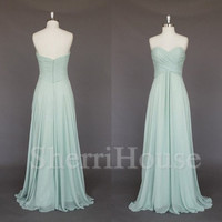 Ruffled Sweetheart Strapless Empired Long Bridesmaid Celebrity dress ,Floor Length Chiffon Evening Party Prom Dress Homecoming Dress
