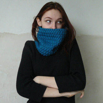 Cowl scarf Crochet infinity scarf Wool scarf Scarves for women Blue autumn circle scarf Loop scarf Knitted cowl Neck warmer Gift for her