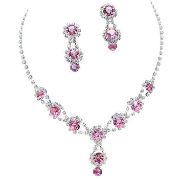 Stunning Y Drop Evening Party Lite Pink Crystal Necklace Earring Bling Rhinestone A6