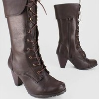 cuffed leatherette lace up boot $31.80 in BROWN - Boot Camp | GoJane.com