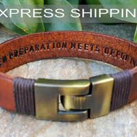 EXPRESS SHIPPING Personalized Hidden Message Bracelet Men's Leather Bracelet Womens Bracelet Couples Leather Id Bracelet Anniversary Gift