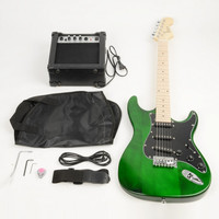 FULL Black Pickguard Electric Guitar Green with Amplifier, Bag, Strap, Tools, Pick, Kit