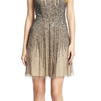 Sleeveless Illusion Yoke Beaded Party Dress - Adrianna Papell