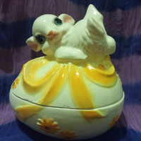 Yellow Ribbon Easter Egg and Bunny Ceramic Trinket Box