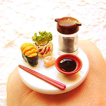 Kawaii Sushi Ring Traditional Japanese Food by SouZouCreations