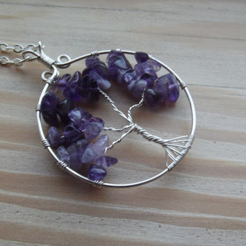 Wire Pendant - Amethyst Tree of Life Wire-Wrapped Pendant