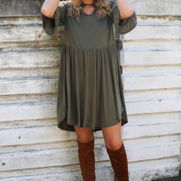 Serenade Olive Quarter Sleeve Ruffle Detail Dress