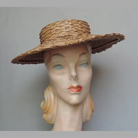 Vintage 1940s Wide Brimmed Natural Straw Hat - fits 21 inch head, thin elastic strap