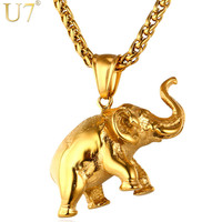 U7 Gold Elephant Necklace 2016 Trendy Men Jewelry Charm Pendant 18K Gold Plated Stainless Steel Animal Lucky Jewelry Gift P755