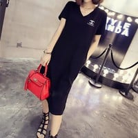 """Chanel"" Women Simple Casual V-Neck Short Sleeve Middle Long Section T-shirt Side Split Dress"