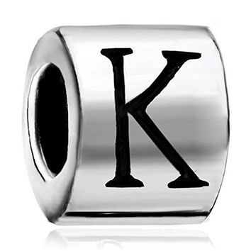 LovelyJewelry Silver Plated Cylindrical Shaped Letter Initial K Alphabet Charm For Bead Bracelet