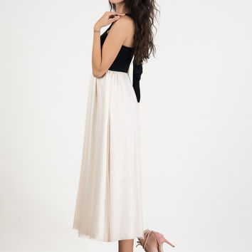 Black Contrast Bow Tie Back Tulle Maxi Dress