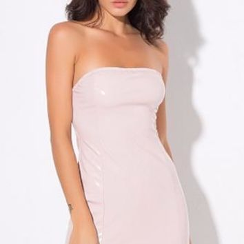 True Exhibitionist Pink Faux Leather PU Latex Look Strapless Tube Bodycon Mini Dress
