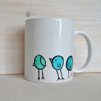 Chubby Bird Mug - Three Blue Birds Coffee Cup - Curious Birds Mug - Cute Mug- Tea Cup - Aqua and Black - Painting on a Mug - Bird Coffee Mug