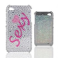Crystal Sexy Pattern Shaped Plastic Back Skin Case Cover Shell for Iphone 4G