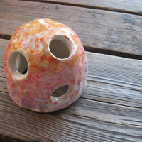 Speckled Pet House - Betta Fish Cave - Ceramics and Pottery - Outdoor Garden Art - Sunset Speckle Dome - Aquarium Decor - Fish Tank Decor