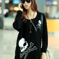 Harajuku Goth Skull Loose Fitting Zipper Round Neck Long Sleeve T-Shirt - M L from Tobi's Finds