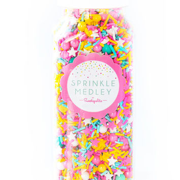 Jumbo (16 oz) Bottle Miami Sprinkle Medley, Pastel Sprinkles, Pink and Turquoise Sprinkles, Pink and Yellow, Bright Sprinkle Mix