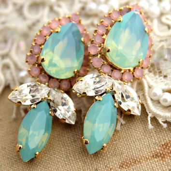 Rhinestone chandelier post earrings Mint blush opal Pink  - 18k gold plated earrings real swarovski rhinestones.