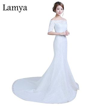 Lamya New Designer Lace Mermaid Wedding Dress Plus Size Half Sleeves High Quality Sexy Lace Gown Real Images Vintage Dresses