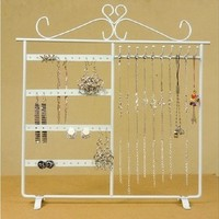 White Metal Earring Display Jewelry Stand Holder Rack Necklace Bracelet 32*32cm
